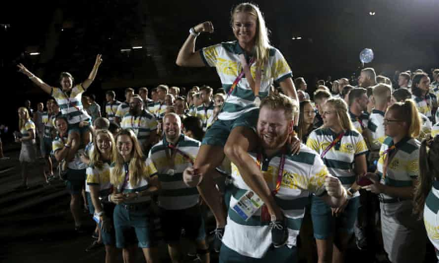 Athletes during the closing ceremony at Carrara Stadium during the 2018 Commonwealth Games on the Gold Coast