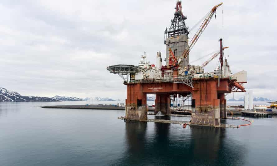 The Equinor oil rig near Hammerfest, Norway