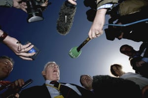 Ian Paisley meets the press during multi-party negotiations on Northern Ireland at St Andrews in 2006.