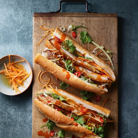 Vietnamese banh mi with five spice crispy pork belly by Uyen Luu.
