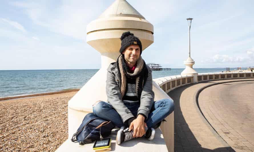 Freelance drummer Alex Morino on the seafront