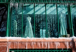 Icicles form outside a bridal shop in Minneapolis
