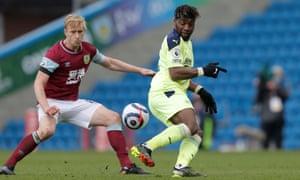 Allan Saint-Maximin flicks a ball past Burnley's Ben Mee.
