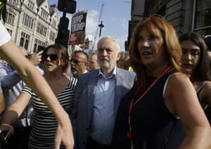 Jeremy Corbyn joins the march in Trafalgar Square