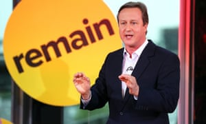 David Cameron in front of remain sign