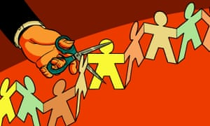 Illustration by R Fresson, of a chain of paper people being cut with a pair of scissors