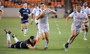 AJ MacGinty sets up a try for the flanker Hanco Germishuys during USA's win over Scotland last year.