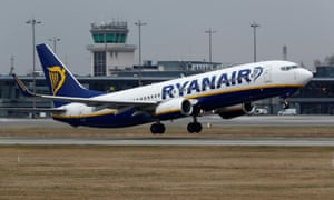 A Ryanair jet takes off