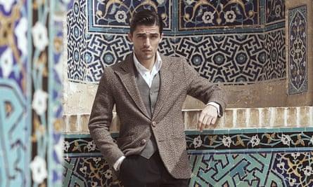 Iranian male model Dana Mashalahpoor in Grand Mosque in Yazd, Iran.