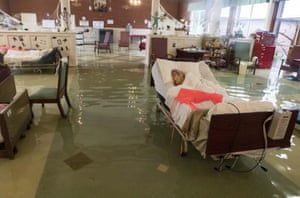 Port Arthur, US: Elderly patients, many of them bedridden, are rescued from Gulf Health care centre which was left with nearly a foot of water in the lobby after Hurricane Harvey