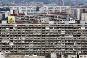 The Petrzalka region in the south of Bratislava. The area is made up almost entirely of flats in high rise concrete blocks left over from the communist era.
