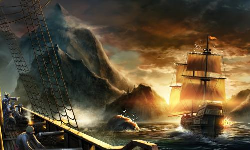 Seafall artwork showing ships in a rocky seascape