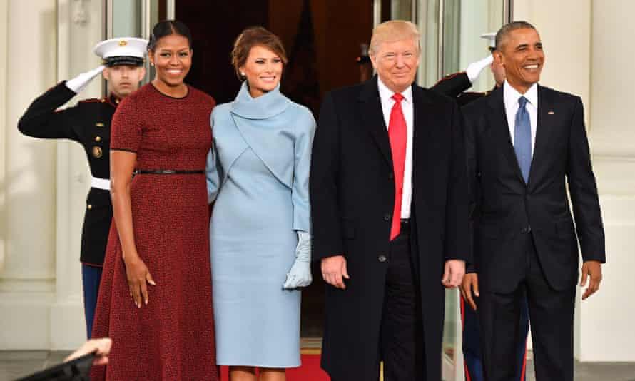 Michelle Obama, Melania and Donald Trump and Barack Obama at Trump's inauguration on 20 January 2017.