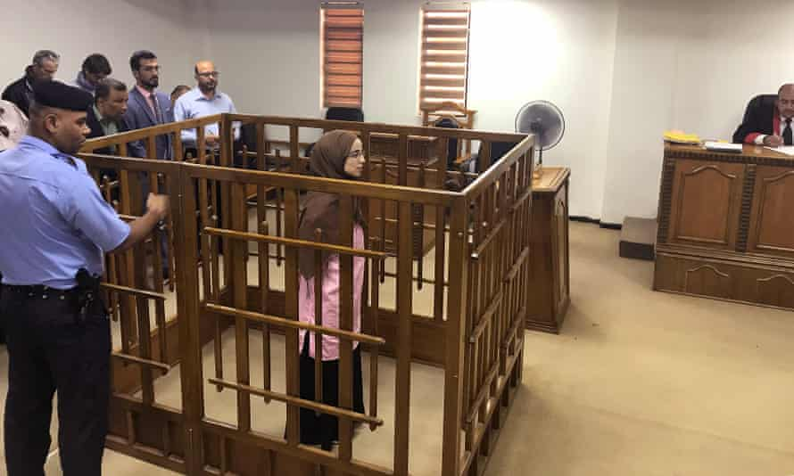 French jihadist Djamila Boutoutao attends her trial at the Central penal Court in Baghdad. She was sentenced to life in prison for belonging to the Islamic State group.