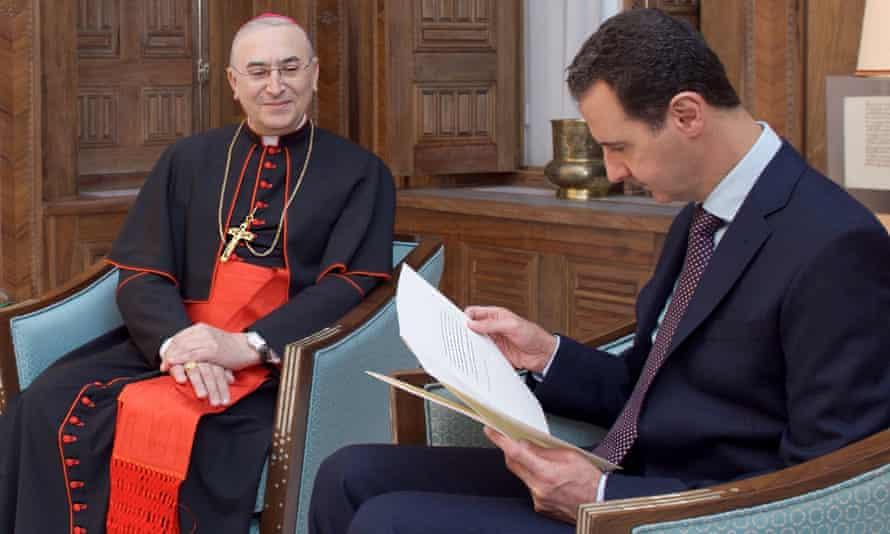 Cardinal Mario Zenari meets the Syrian president, Bashar al-Assad, in Damascus.