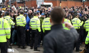Police surround fans before Sunday's match at St Andrew's Trillion Trophy Stadium in Birmingham.