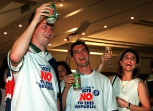 Monarchists celebrate in Sydney in 1999 following the defeat of the republic referendum.