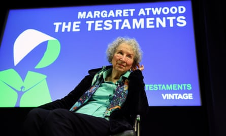 Margaret Atwood at the press conference at the British Library in London on Tuesday.