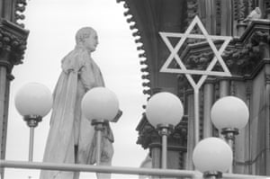 Hanukkah lights in Albert Square, Manchester (Archive ref. GUA-6-9-2-1-2-1492). 'I like the picture because it has the Jewish star, and I am Jewish.'