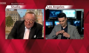 Andrew Neil interviews Ben Shapiro on BBC Politics live.