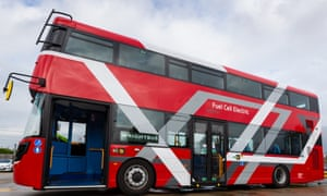 Exterior of the Wrightbus doubledecker hydrogen bus prototype.