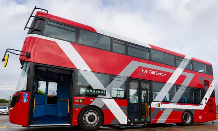 Exterior of the Wrightbus doubledecker hydrogen bus prototype.