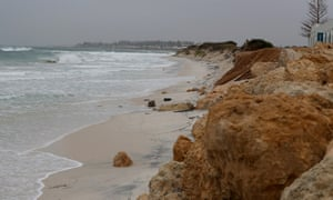 Coastal erosion defences are seen at Port Breach in Perth on Sunday as Western Australia experienced the wildest autumn weather in years.