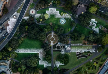 Jonathan Jones' artwork barrangal dyara (skin and bones) sits over the site of the 19th century Garden Palace building at the Royal Botanic Garden, Sydney.
