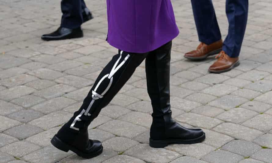 Jill Biden's 'Vote' boots designed by Stuart Weitzman.