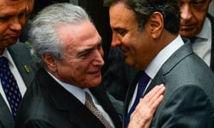 Michel Temer (left) speaks with Aecio Neves in Brasilia on 31 August 2016.