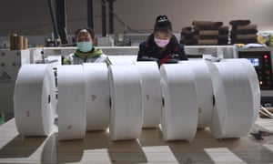 Manufacturing of meltblown fabric for use in face masks in Chengdu, China.