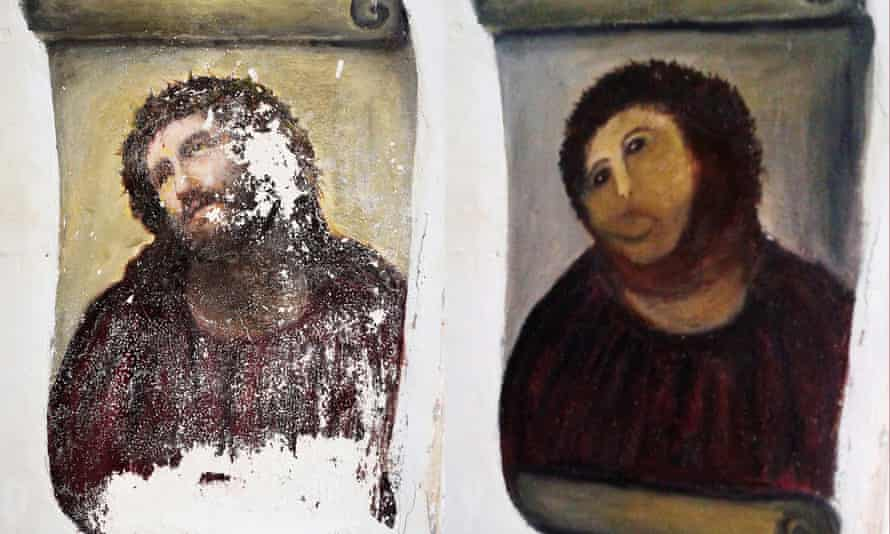 The 20th-century Ecce Homo-style fresco of Christ, in Borja, Spain before and after an amateur restoration.