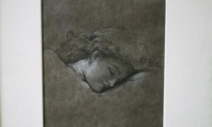 "Duchess of Roxburghe's heir, Bamber Gascoigne, to offer for sale her historic collection. With a view to restoring the 16th Century house which was the duchess's country retreat. West Horsley Place. A pencil and chalk study for Frederic Leighton's ""Flaming June"" 01-05-2015 Photograph by Martin Godwin"