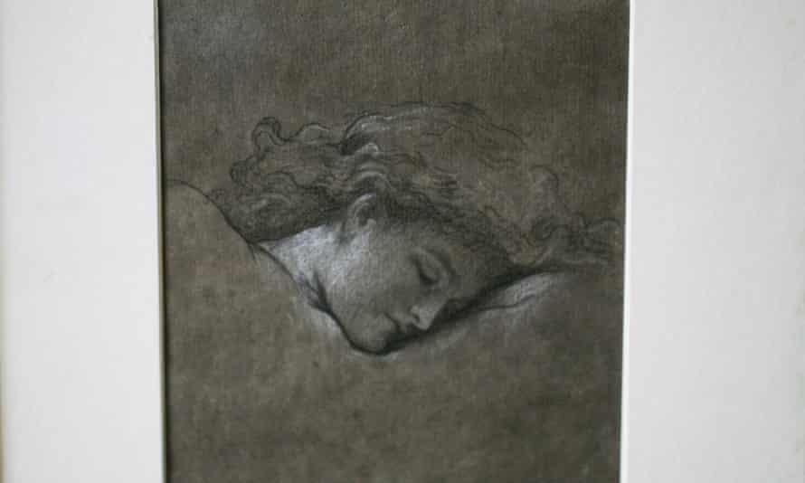 """Duchess of Roxburghe's heir, Bamber Gascoigne, to offer for sale her historic collection. With a view to restoring the 16th Century house which was the duchess's country retreat. West Horsley Place. A pencil and chalk study for Frederic Leighton's """"Flaming June"""" 01-05-2015 Photograph by Martin Godwin"""