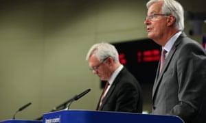 David Davis (left) and Michel Barnier at their press conference.