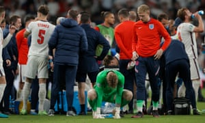 England keeper Jordan Pickford collects his thoughts ahead of the penalty shoot-out..