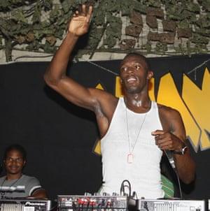 Usain Bolt DJing after the 2009 world championship.