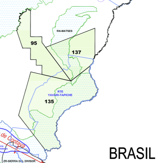 "Detail from a Perupetro May 2014 map showing how oil concessions Lot 135 and Lot 137 (black boundaries) overlap the proposed Yavari-Tapiche reserve (sky blue boundaries) for indigenous peoples living in ""isolation."" The map also shows how the concessions overlap two ""protected natural areas"": the Matsés national reserve and the then Sierra del Divisor reserved zone (green boundaries), now a national park. The proposed Yavari-Tapiche reserve no longer appears on Perupetro's current publicly available concessions map. Photograph: Perupetro"