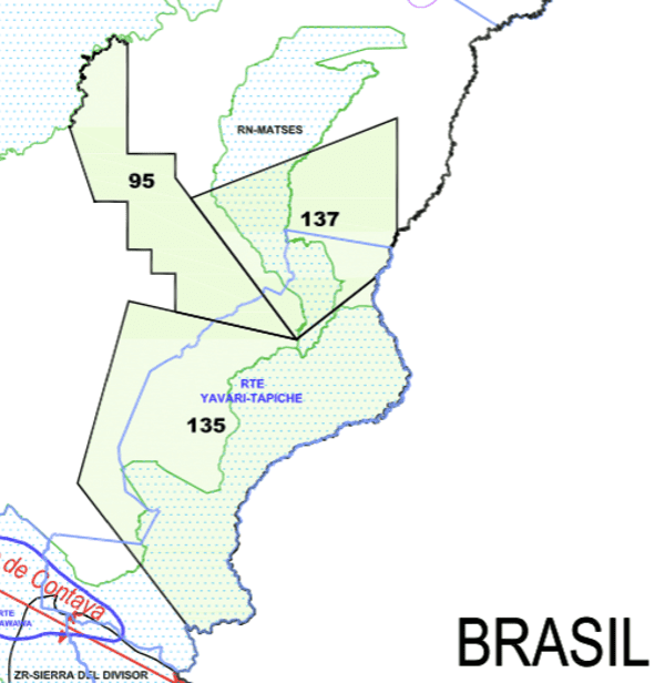 """Detail from a Perupetro May 2014 map showing how oil concessions Lot 135 and Lot 137 (black boundaries) overlap the proposed Yavari-Tapiche reserve (sky blue boundaries) for indigenous peoples living in """"isolation."""" The map also shows how the concessions overlap two """"protected natural areas"""": the Matsés national reserve and the then Sierra del Divisor reserved zone, now a national park. The proposed Yavari-Tapiche reserve does not appear on Perupetro's current publicly available concessions map."""