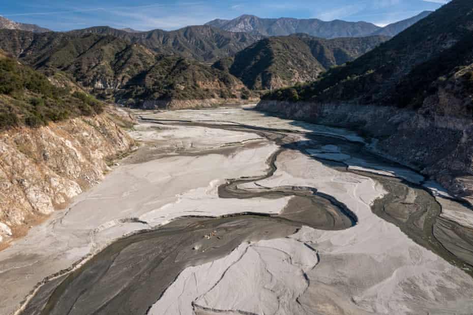 Bed of the San Gabriel reservoir.