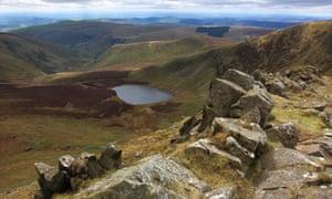 The view from the summit of Cadair Berwyn, down to Llyn Lluncaws.