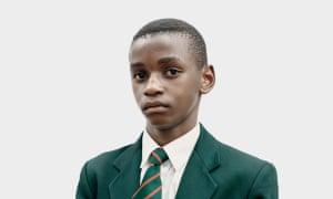 Detail of Matsenen 2016, a portrait of a boy in school uniform, by Claudio Rasano