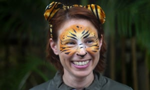 Stacey Konwiser smiles during the dedication of the new tiger habitat at the Palm Beach zoo in West Palm Beach, Florida.