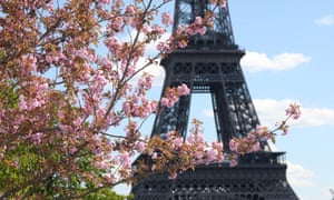 The Eiffel Tower on a sunny spring day in Paris.