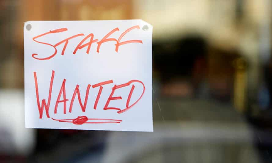 A staff wanted sign