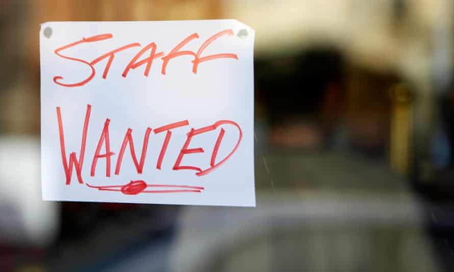 Staff wanted sign in shop window