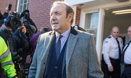 Kevin Spacey leaves Nantucket district court in Massachusetts after being arraigned on 7 January.