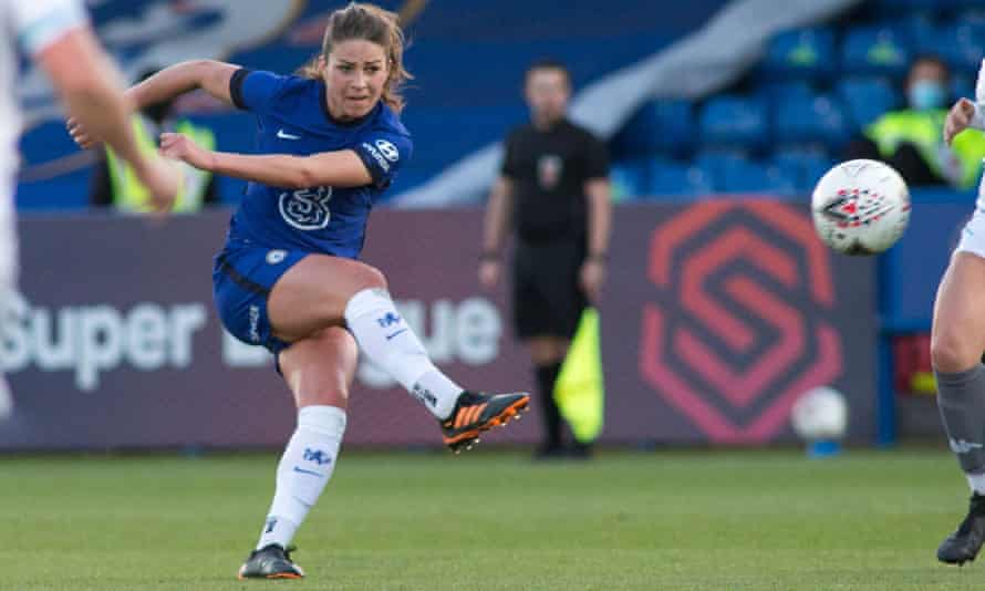 Melanie Leupolz scores for Chelsea. They have reached the semi-finals of this season's women's Champions League and lead the WSL.