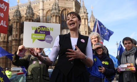Caroline Lucas with anti-Brexit protesters