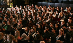 Pupils listen to the lesson at Hackney Empire
